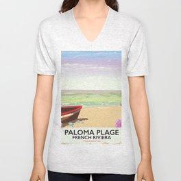 Paloma Plage, French Riviera Unisex V-Neck