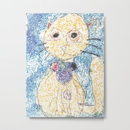 Cute Yellow Cat With Scarf Metal Print