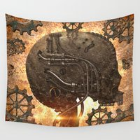 steampunk Wall Tapestries featuring Steampunk, skull by nicky2342