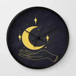 Hands Holding Crescent Moon And Stars, Boho Ethnic Mystical Vector Illustration Wall Clock