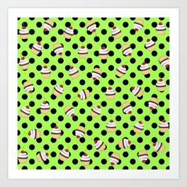 Sweet Cherry Cupcake Picks Dots Art Print