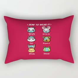 How not to wear a face mask  animals cute funny Rectangular Pillow