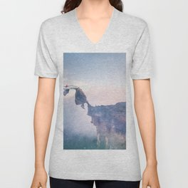 Falling Stars Surreal Levitation Off an Australian Cliff-Stars and a Levatating Woman Unisex V-Neck