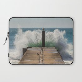 Crashing waves on a jetty Laptop Sleeve