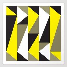 Yellow & black triangle pattern Art Print