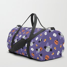 Purple Kawaii Halloween Bat Pattern Duffle Bag