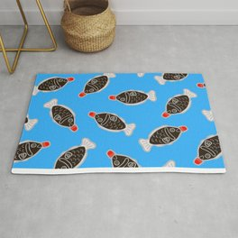Sushi Soy Fish Pattern in Blue Rug