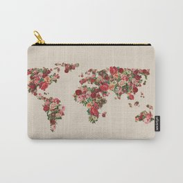Floral World Map in Vintage Style Carry-All Pouch