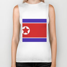 north korea flag Biker Tank