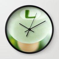 luigi Wall Clocks featuring Mighty Luigi by josemanuelerre