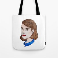 peggy carter Tote Bags featuring Watercolour Peggy Carter by HayPaige