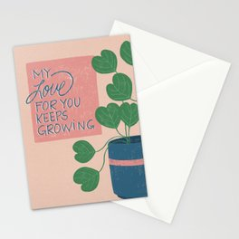 Grow - Pink and Green, Plant Illustration Stationery Cards