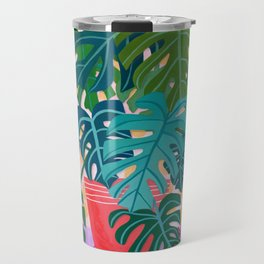 Split Leaf Philodendron Houseplant Painting Travel Mug