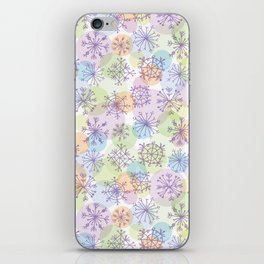 Merry Christmas pattern with purple snowflakes on light background iPhone Skin