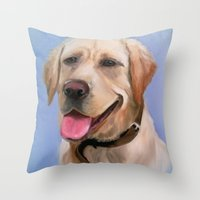 labrador Throw Pillows featuring Labrador by OLHADARCHUK