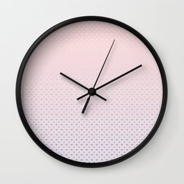 Ombre Red pink white hearts and raindrops on a sunset pink purple background Wall Clock