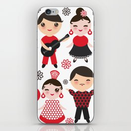 Spanish flamenco dancer. Kawaii cute face with pink cheeks and winking eyes. Gipsy iPhone Skin