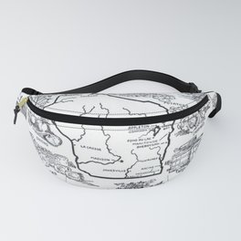 Vintage Map of Wisconsin (1912) Fanny Pack