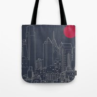 blueprint Tote Bags featuring Philly Blueprint by ralexandertrejo