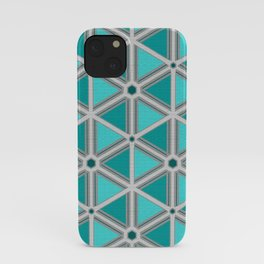 Silver Foil Hexagon and Triangles in Teal Light Gray iPhone Case