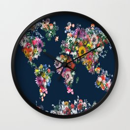 world map floral Wall Clock