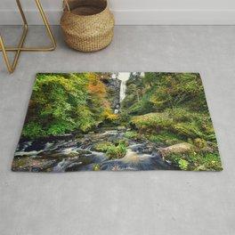 Pistyll Rhaeadr Waterfall , North Wales, United Kingdom, landscape Photography Rug
