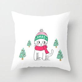 Adorable Little Cat in Christmas Time. Throw Pillow