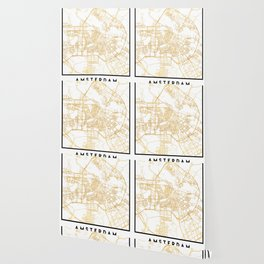 AMSTERDAM NETHERLANDS CITY STREET MAP ART Wallpaper