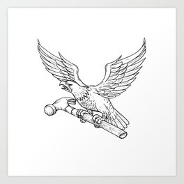 Eagle Clutching Hammer Drawing Art Print