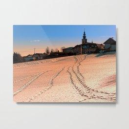 Beautiful village in winter wonderland   landscape photography Metal Print