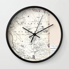 Northern California Map 1866 Wall Clock
