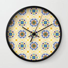 Cheery Modern Moorish Tiles in Sun-Kissed Butter Yellow Wall Clock