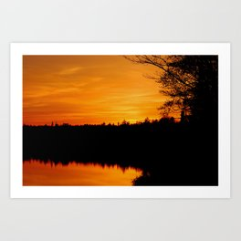 Sunset on Lake Hebron, Monson Maine Art Print