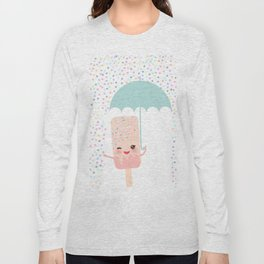 pink ice cream, ice lolly holding an umbrella. Kawaii with pink cheeks and winking eyes Long Sleeve T-shirt
