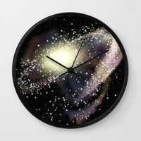 rileigh smirl Wall Clocks featuring Galaxy by Rileigh Smirl