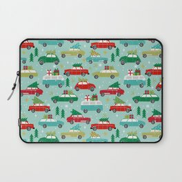 Christmas car tradition christmas trees holiday pattern winter festive Laptop Sleeve
