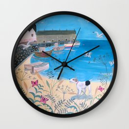 Dog by the Sea Wall Clock