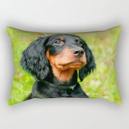 Gordon Setter Attentive Black Dog Puppy Rectangular Pillow