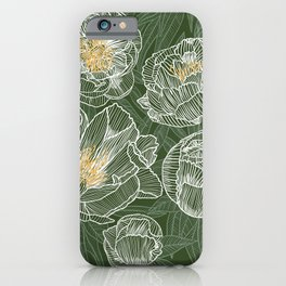 Peonies #1 White Line Art on Green iPhone Case