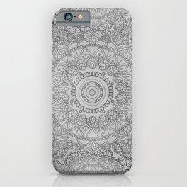 Grey Watercolor Mandala Pattern iPhone Case
