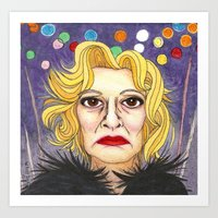 jessica lange Art Prints featuring Ms. Lange  by Insomnious