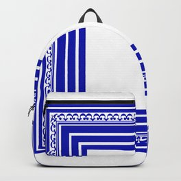 Blue and White Lines Geometric Abstract Pattern Backpack