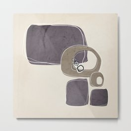 Retro Abstract Design in Taupe and Aubergine Metal Print