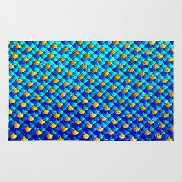 Ocean Blue Mermaid Scales -Beautiful Abstract Glitter Pattern Rug