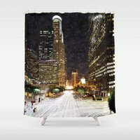 los angeles Shower Curtains featuring los angeles by yadi sudjana
