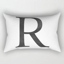 Letter R Initial Monogram Black and White Rectangular Pillow