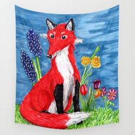 Spring Fox Surrounded by Flowers Wall Tapestry