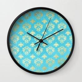 Mermaid Gold and Aqua Blue Seafoam Damask Wall Clock