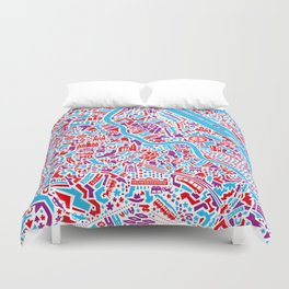 Vienna City Map Poster Duvet Cover