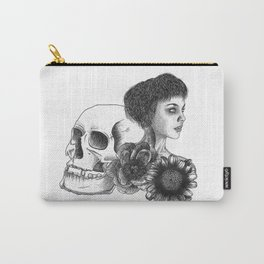 The Girl With A Skull And Flowers Carry-All Pouch